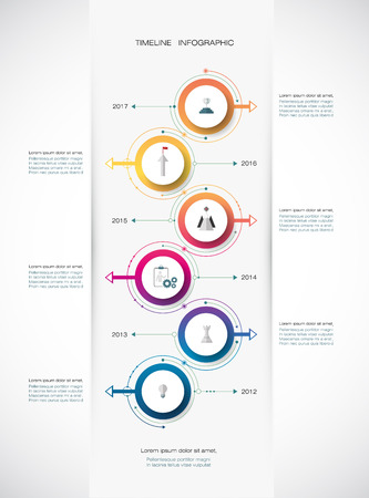 Vector infographics timeline design template with 3D paper label, integrated circles background. Blank space for content, business, infographic, diagram, digital network, flowchart, process diagram, time line