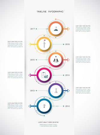 Vector infographics tijdlijn ontwerp sjabloon met 3D papieren label, geïntegreerde cirkels achtergrond. Lege ruimte voor de inhoud, het bedrijfsleven, infographic, diagram, digitale netwerk, flowchart, process diagram, tijdslijn Stock Illustratie