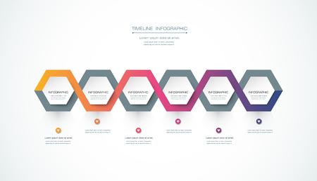 mapa de procesos: Vector infografía plantilla de diseño de línea de tiempo con etiqueta de papel en 3D, fondo hexagonal integrado. Espacio en blanco para contenido, negocios, infografía, marketing, diagrama de flujo, diagrama de proceso, línea de tiempo