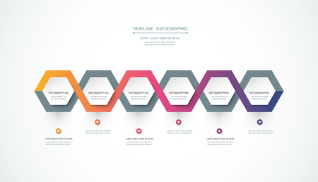 business time: Vector infographics timeline design template with 3D paper label, integrated hexagon background. Blank space for content, business, infographic, marketing, flowchart, process diagram, time line