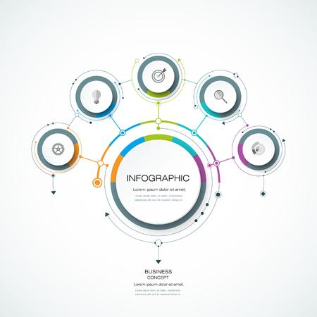 diagrama: plantilla de diseño de la etiqueta Círculo del vector Infografía 3D con flechas firmar y 5 opciones o pasos. Infographics para presentaciones de negocios o titular de información, diagrama de proceso, diagrama de flujo, gráfico, esquema