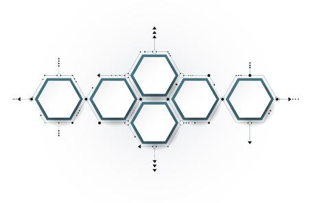 矢量分子與3D紙標籤,集成六角形背景。內容,業務,信息圖表,圖表,數字網絡,流程圖,時間軸,流程的空白。社交網絡連接技術理念