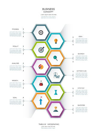 Vector infographics timeline design template with 3D paper lable, integrated hexagon for 10 steps and icon. Blank space for content, business, infographic,  infograph, flowchart, process diagram, time line, workflow