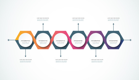 graphs and charts: Vector infographics timeline design template with 3D paper label, integrated hexagon . Blank space for content, business, infographic, marketing, flowchart, process diagram, time line