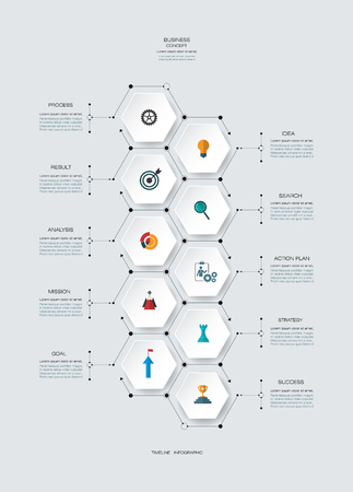 integrate: Vector infographics timeline design template with 3D paper lable, integrated hexagon for 10 steps and icon. Blank space for content, business, infographic,  infograph, flowchart, process diagram, time line, workflow