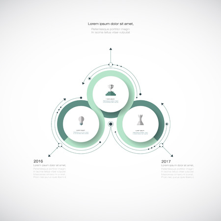 Vector infographics, 3D paper cycle diagram template, Blank space for data content, business, infographic, digital network, flowchart, process diagram, chart. Business concept with options or steps processes.