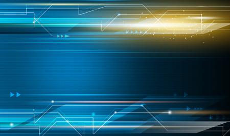 Abstract, wetenschap, futuristische, energietechnologie concept. Digitale afbeelding van pijlteken, lichtstralen, strepen lijnen met blauw licht, snelheid bewegingspatroon en motion blur over donkerblauwe achtergrond Stock Illustratie