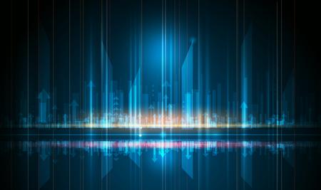 Cyfrowy obraz znaku strzałki, promieni świetlnych, linii pasków z niebieskim światłem, wzoru ruchu prędkości i rozmycia ruchu na ciemnoniebieskim tle