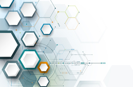 engineering and technology: Illustration circuit board and 3d paper hexagons background. Hi-tech digital technology and engineering, digital telecom technology concept. Vector abstract futuristic on white gray color background Illustration