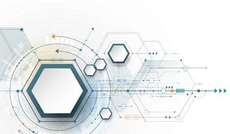 Hi-tech digitale technologie en engineering, digitale telecom technologie concept. Vector abstracte futuristische op witte grijze kleur achtergrond