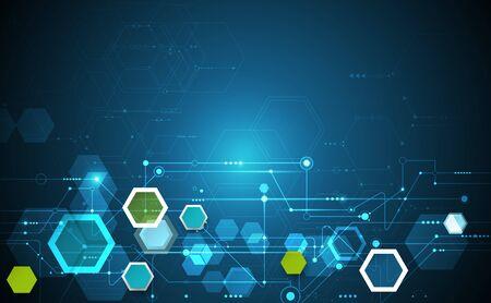 Concept d'innovation science illustration. Circuit imprimé et hexagones ou arrière-plan de polygone. Technologie numérique Hi Tech. Abstrait futuriste, forme hexagonale sur fond de couleur bleu foncé