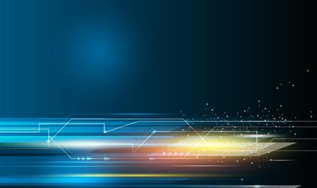 Streszczenie, nauka, futurystyczna koncepcja technologii energetycznej. Cyfrowy obraz znak strzałki, promienie światła, paski linie z niebieskim światłem, wzór ruchu prędkości i rozmycie ruchu na ciemnoniebieskim tle