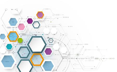 Abstracte futuristische, zeshoekige vorm op lichtgrijze kleur achtergrond. Vector illustratie wetenschap innovatieconcept. Printplaat en zeshoeken of veelhoek achtergrond. Hi-tech digitale technologie.