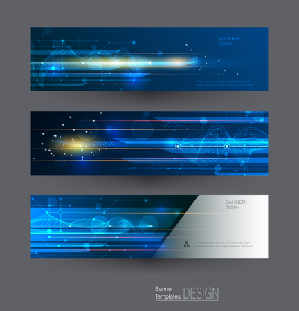 energy background: Abstract banners set with image of speed movement pattern and motion blur over dark blue color. Science, futuristic, energy technology concept. Vector background for web banner template or brochure Illustration