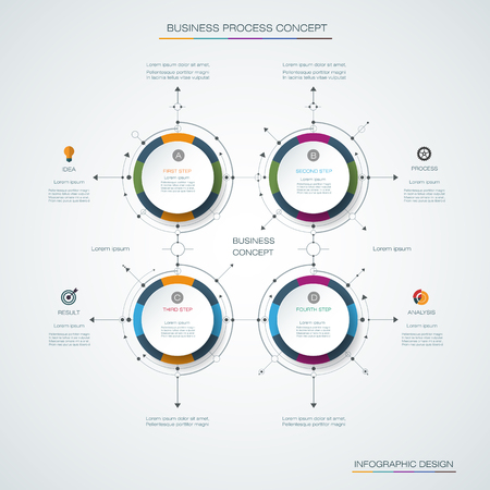 Infographics Timeline Design Template With Label Design And Icons ...