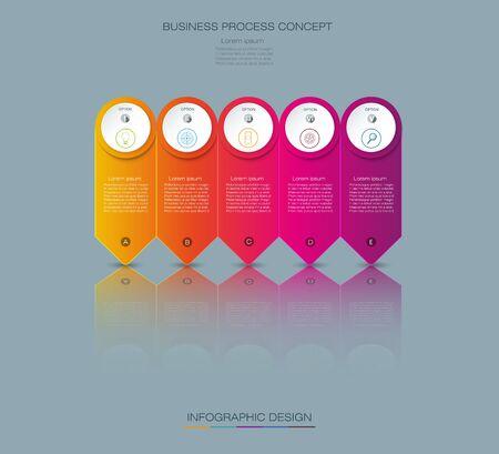 grafica de barras: Vector Diseño de etiqueta infográfica con iconos y 5 opciones o pasos. Infografía para el concepto de negocio.