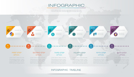 Info graphics timeline design template with 3D paper label and graph 6 step option.