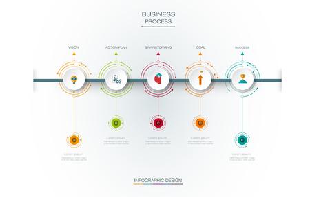 Tema di progettazione timeline Infographics con etichetta cartacea 3D e 5 opzioni o passaggi, background circoli integrati. Spazio vuoto per contenuti, business, infografica, diagramma, rete digitale, diagramma di flusso, diagramma di processo, linea temporale