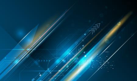 Wektor ilustracja obwodu drukowanego, Hi-tech technologii cyfrowej i inżynierii, koncepcja technologii cyfrowej telekomunikacji. Abstrakcjonistyczny futurystyczny na bławym koloru tle