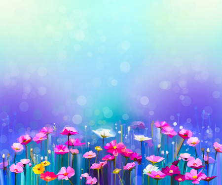 Abstract colorful oil painting red, pink cosmos flower, daisy, wildflower in field. Blurry  wildflowers at meadow with bokeh and soft green, blue sky. Spring, summer season nature background