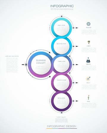 Vector abstracte moleculen met 3D-papier label, geïntegreerde cirkels. Lege ruimte voor inhoud, business, infographic sjabloon, diagram, netwerk, webdesign. Lichtgrijze kleur achtergrond. Social media verbindingstechnologie concept Vector Illustratie