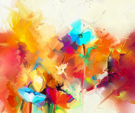 Abstract colorful oil painting on canvas. Semi- abstract image of flowers, in yellow and red with blue color. Hand drawn brush stroke, oil color paintings. Modern art oil paintings for background.