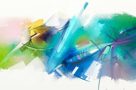 Abstraktes buntes Ölgemälde auf Segeltuchbeschaffenheit. Übergeben Sie gezogenen Pinselanschlag, Ölfarbe-Malereishintergrund. Ölbilder der modernen Kunst mit grüner, blauer Farbe. Abstrakte zeitgenössische Kunst für Hintergrund.