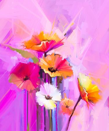Abstraktes Ölgemälde der Frühlingsblume. Stillleben von gelbem, rosa und rotem Gerbera. Bunter Blumenstrauß blüht mit hellgelbem, rosa und rotem Hintergrund. Handgemalter Blumenimpressioniststil Standard-Bild - 88039998