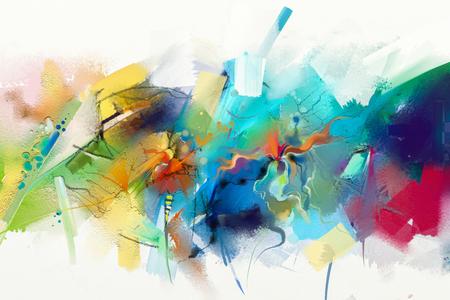 Abstraktes buntes Ölgemälde auf Segeltuchbeschaffenheit. Hand gezeichneter Bürstenanschlag, Ölfarbmalereihintergrund. Ölgemälde der modernen Kunst mit Grün, Rot und Blau. Abstrakte zeitgenössische Kunst für Hintergrund. Standard-Bild