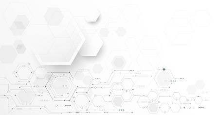 벡터 일러스트 레이 션 회로 보드 및 육각형 배경입니다. 하이테크 디지털 기술 및 엔지니어링, 디지털 통신 기술 개념. 흰색 회색 색상 배경에 미래의  일러스트