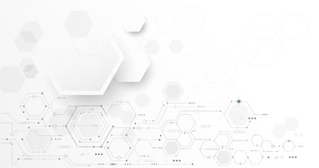 Vector illustration circuit board and hexagons background. Hi-tech digital technology and engineering, digital telecom technology concept. Vector abstract futuristic on white gray color background