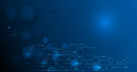 Ilustración del vector placa de circuito y hexágonos de fondo. Tecnología e ingeniería digital de alta tecnología, concepto de tecnología de telecomunicaciones digitales. Vector abstracto futurista en el fondo de color gris blanco Ilustración de vector
