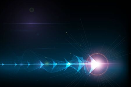 Vector illustration flèche abstraite symbole vers l'avant et des lignes douces sur fond de couleur bleu foncé. Concept de technologie et d'innovation numérique Hi-Tech. Abstrait futuriste, lignes brillantes.