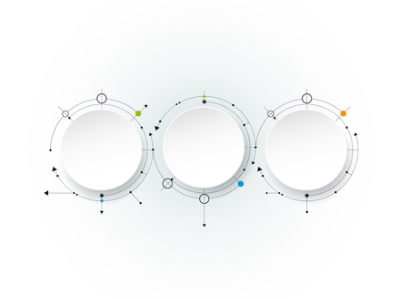 Vector abstract molecules with 3D paper label, integrated circles.