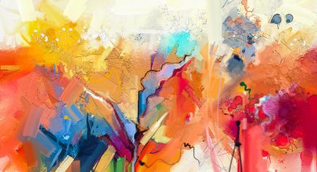 Abstraktes buntes Ölgemälde auf Segeltuchbeschaffenheit. Hand gezeichneter Bürstenanschlag, Ölfarbmalereihintergrund. Ölgemälde der modernen Kunst mit Grün, Rot und Blau. Abstrakte zeitgenössische Kunst für Hintergrund