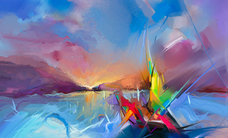 Buntes Ölgemälde auf Segeltuchbeschaffenheit. Halb abstraktes Bild von Meerblickmalereien mit Sonnenlichthintergrund. Ölgemälde der modernen Kunst mit Boot, Segel auf Meer. Abstrakte zeitgenössische Kunst für Hintergrund