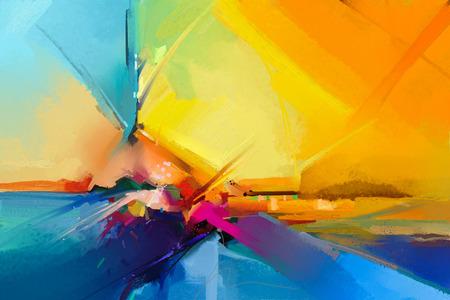 Abstraktes buntes Ölgemälde auf Segeltuchbeschaffenheit. Halb abstraktes Bild des Landschaftsmalereihintergrundes. Ölgemälde der modernen Kunst mit Gelb, Rot und Blau. Abstrakte zeitgenössische Kunst für Hintergrund Standard-Bild