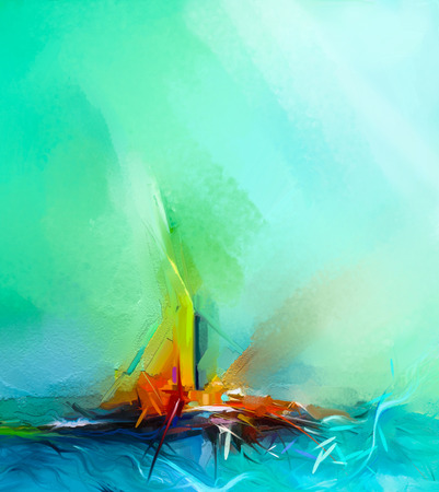 Abstract colorful oil painting on canvas texture. Semi- abstract image of landscape paintings background. Modern art oil paintings with green, red and blue. Abstract contemporary art for background Stock Photo