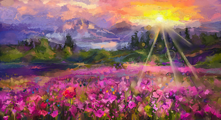 Abstract colorful oil painting purple cosmos flower, rhododendron flowers, wildflower in field. Violet, red wildflowers at meadow with sunrise and blue sky. Spring, summer season nature background