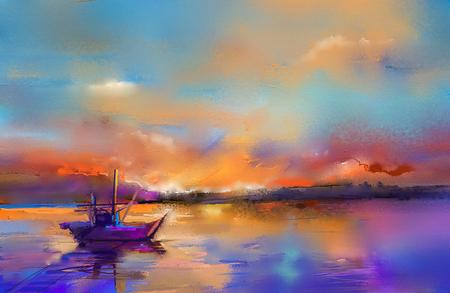 Buntes Ölgemälde auf Segeltuchbeschaffenheit. Impressionismusbild von Meerblickmalereien mit Sonnenlichthintergrund. Ölgemälde der modernen Kunst mit Boot, Segel auf Meer. Abstrakte zeitgenössische Kunst für Hintergrund. Standard-Bild