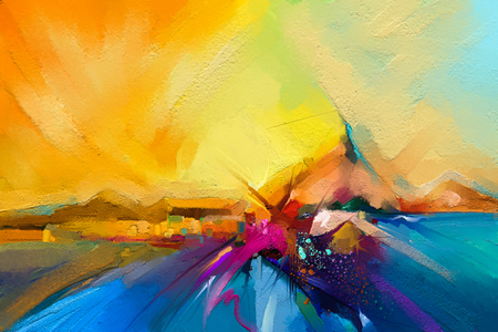 Colorful oil painting on canvas texture. Semi- abstract image of seascape paintings with sunlight background. Modern art oil paintings with boat, sail on sea. Abstract contemporary art for background.