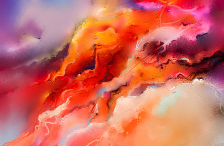 Abstract colorful oil painting on canvas texture. Hand drawn brush stroke, oil color paintings background. Modern art oil paintings with yellow, red color. Abstract contemporary art for background. Stockfoto
