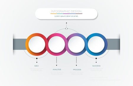 Vector Infographic 3d circle label template design.Infograph with 4 number options or steps. Infographic element for layout, process diagram, parts, chart, graphic, info graph, flowchart, presentation