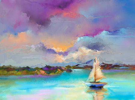 Buntes Ölgemälde auf Leinwandbeschaffenheit. Impressionismusbild von Seestückmalereien mit Sonnenlichthintergrund. Ölgemälde der modernen Kunst mit Boot, Segel auf See. Abstrakte zeitgenössische Kunst für Hintergrund.