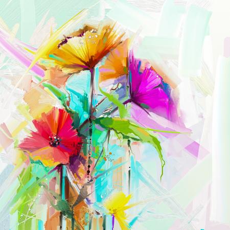 resumen flor de color de aceite de flores . flores pintadas rojas y rojas pintadas en colores del vector. pintura amarilla sobre fondo rojo y rojo navidad . fondo de la naturaleza de la temporada de primavera Foto de archivo
