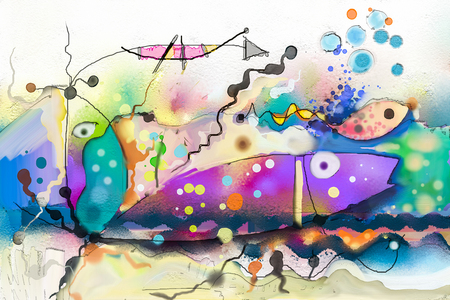 Oil painting.Abstract colorful fantasy underwater. Illustration Semi abstract art. Image of fish in sea. Hand painted, children painting surreal style for background