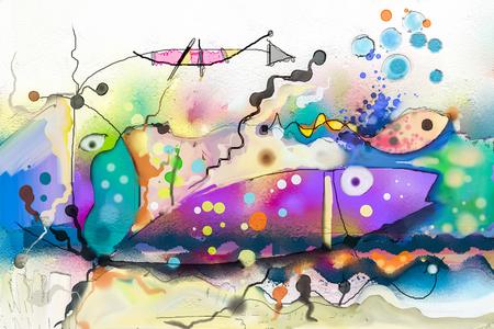 Pintura al óleo Fantasía colorida abstracta bajo el agua. Ilustración Arte semi abstracto. Imagen de peces en el mar. Pintado a mano, niños pintando estilo surrealista para el fondo. Foto de archivo