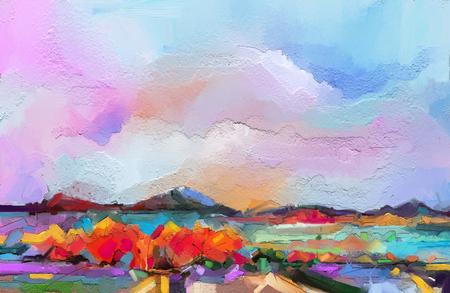 Paisaje de pintura al óleo abstracta. Cielo azul púrpura colorido. Pintura al óleo al aire libre sobre lienzo. Árbol semi abstracto, campo, río, prado. La abstracción de la naturaleza del paisaje, el arte contemporáneo de fondo
