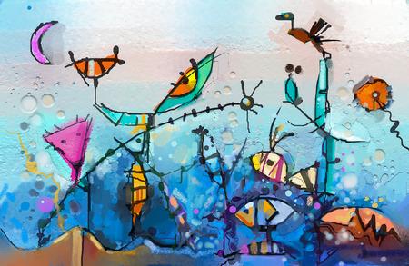 Abstraktes buntes Fantasieölgemälde. Semi-Abstract von Kindern, Baum, Fisch und Vogel. Naturhintergrund des Frühlings, der Sommersaison. Handgemalt, Kinder, die surrealen Stil für Hintergrund malen