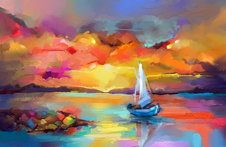 Pintura al óleo de colores sobre lienzo textura. Imagen de impresionismo de pinturas de paisajes marinos con fondo de luz solar. Pinturas al óleo de arte moderno con barco, navegar en el mar. Arte abstracto contemporáneo para el fondo